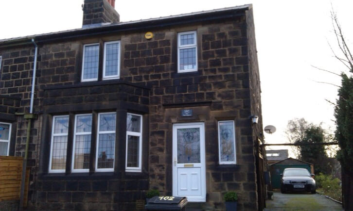 Semi Detatched House in Rawden Before Being Chemically Cleaned and Repointed