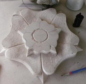 Hand Carved Stone Yorkshire Rose